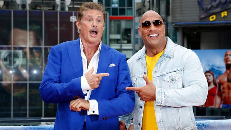 Here's the Hoff, kicking up a bigger fuss in Berlin than the Rock (Photo: Franziska Krug/Getty Images)