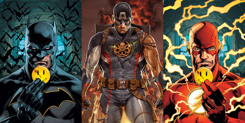 Images: DC and Marvel Comics. Batman and Flash cover art by Jason Fabok, Secret Empire cover art by Mark Brooks
