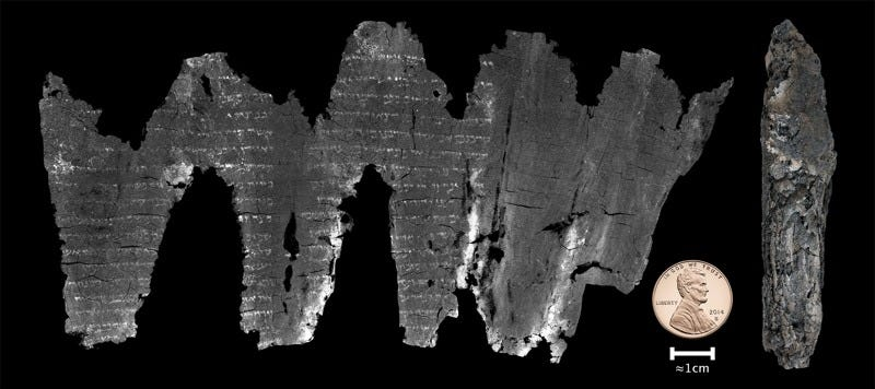 """Virtual unwrapping"" has revealed text from the book of Leviticus inside an ancient scroll.. (Image: Seales et al./Science Advances)"