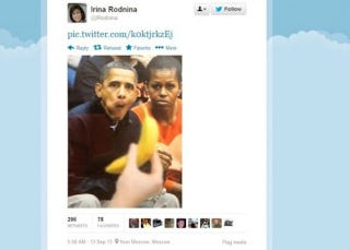Illustration for article titled Russian Olympian Who Tweeted Racist Photo Of Obama Says She Was Hacked