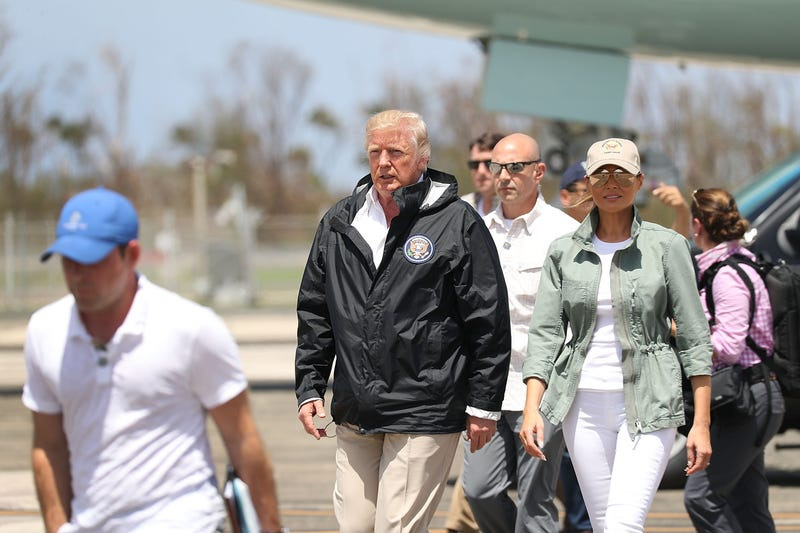 President Donald Trump and first lady Melania Trump arrive on Air Force One at the Muniz Air National Guard Base on Oct. 3, 2017, in Carolina, Puerto Rico. (Joe Raedle/Getty Images)