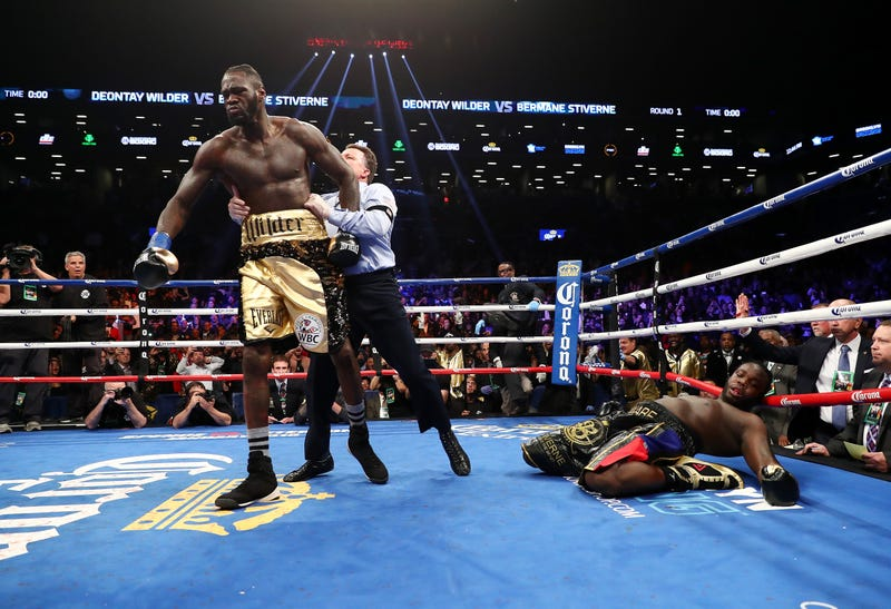 Deontay Wilder knocking out Bermane Stiverne in the first round during their rematch for Wilder's WBC heavyweight title at the Barclays Center in Brooklyn, N.Y., on Nov. 4, 2017 (Al Bello/Getty Images)