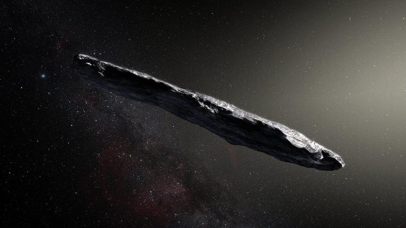 A brief visit from a red and extremely elongated interstellar asteroid