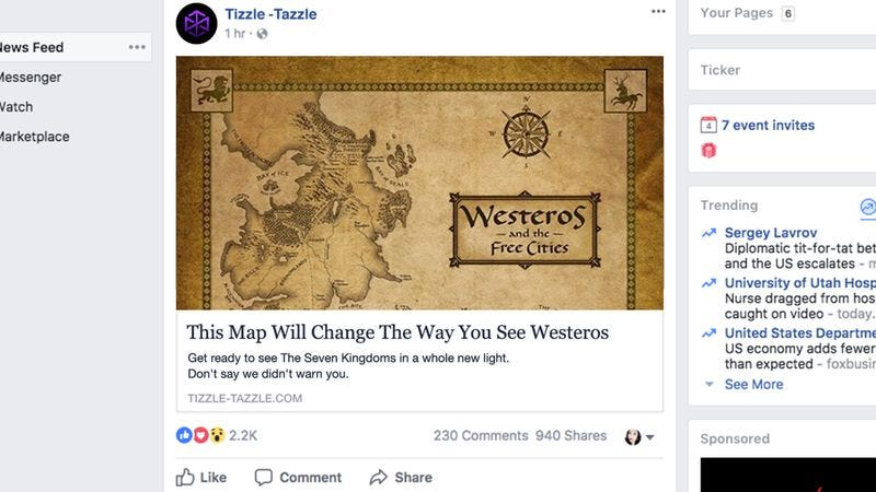 Illustration for article titled 'This Map Will Change The Way You See Westeros,' Reports Never-Ending Cascade Of Subhuman Bullshit