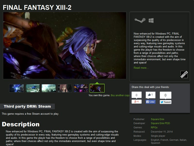 Illustration for article titled Final Fantasy XIII-2 For 13.50USD on GMG and Other Deals