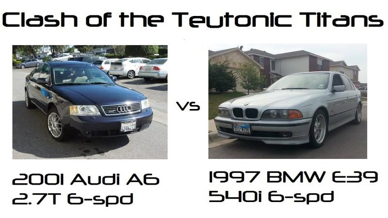 Illustration for article titled Clash Of The Teutonic Titans: 1997 BMW 540i 6spd vs 2001 Audi A6 2.7T 6spd