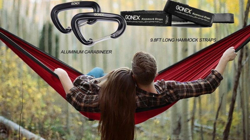 Gonex Camping Hammock + Tree Straps + Carabiners, $22 with code MVJQJDJA
