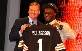 NFL Commissioner Roger Goodell and the Cleveland Browns' Trent Richardson(Al Bello/Getty Images)