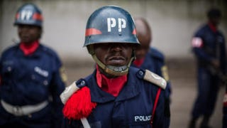 Congolese police wait to take part in a ceremony on March 3, 2015, in Kinshasa.FEDERICO SCOPPA/Getty Images