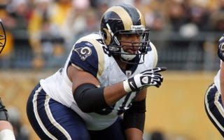 Then-St. Louis Rams lineman Jason Brown plays against the Pittsburgh Steelers Dec. 24, 2011, at Heinz Field in Pittsburgh.Justin K. Aller/Getty Images