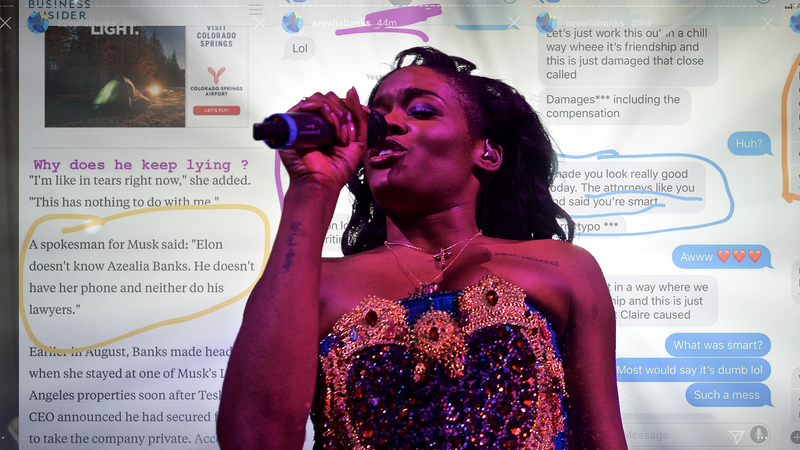 Illustration for article titled Azealia Banks Is Still Posting About Grimes and Elon Musk, Claims His Lawyers Took Her Phone
