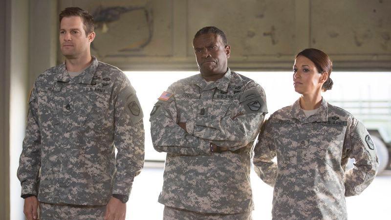 Geoff Stults (left), Keith David, Angelique Cabral (Fox)