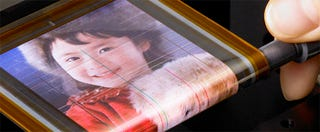 Illustration for article titled Sony's Flexible OLED is Thinner Than a Strand of Hair