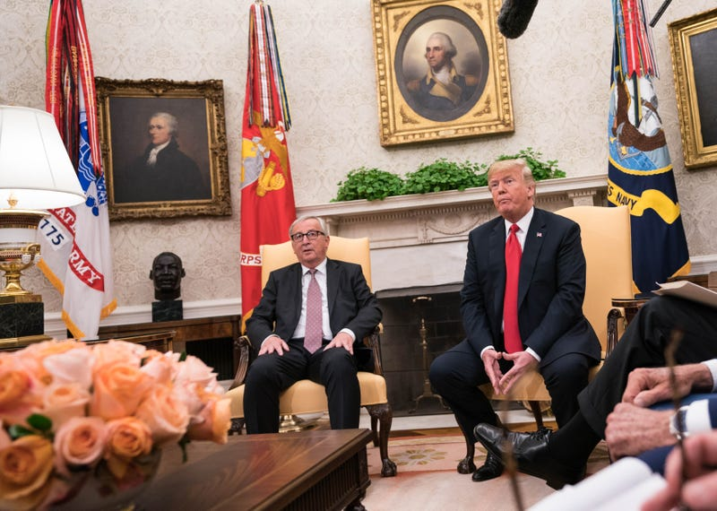 President Donald Trump meets with president of the European Commission, Jean-Claude Juncker, in the Oval Office at the White House July 25, 2018 in Washington, DC.