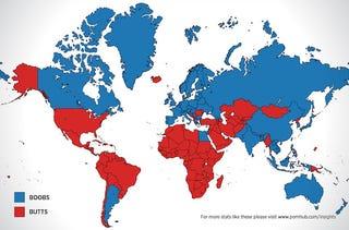 Las partes del cuerpo más populares en el porno online de cada país