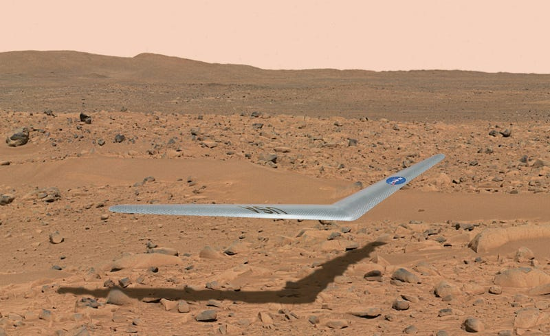 Illustration for article titled Is This Boomerang-Shaped Glider Going to Be Our First Martian Plane?