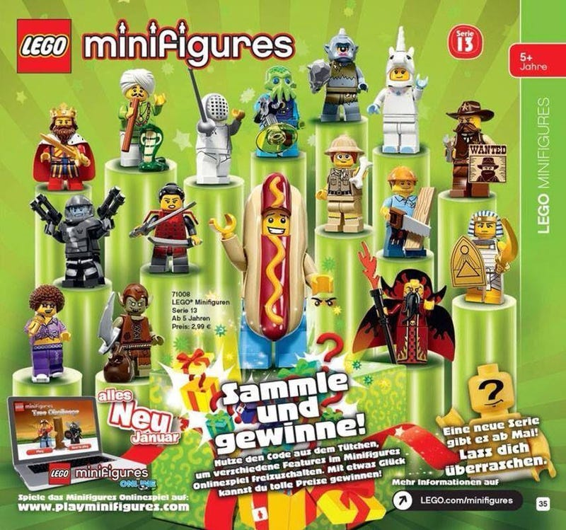 Illustration for article titled Lego series 13 minifigures leaked--Hot dog guy is awesome