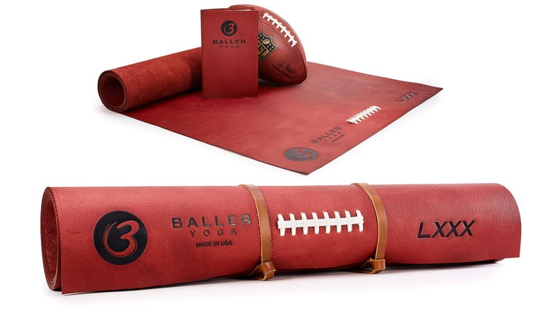 Illustration for article titled This $1,000 Yoga Mat Made From Genuine NFL Football Leather Probably Smells Amazing