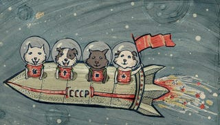 Illustration for article titled Vintage Memorabilia Celebrates The Soviet Union's Cosmonaut Dogs