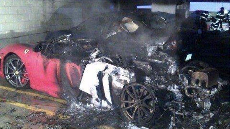 Illustration for article titled Ferrari Melts Like A Stick Of Butter In Hospital Garage Fire