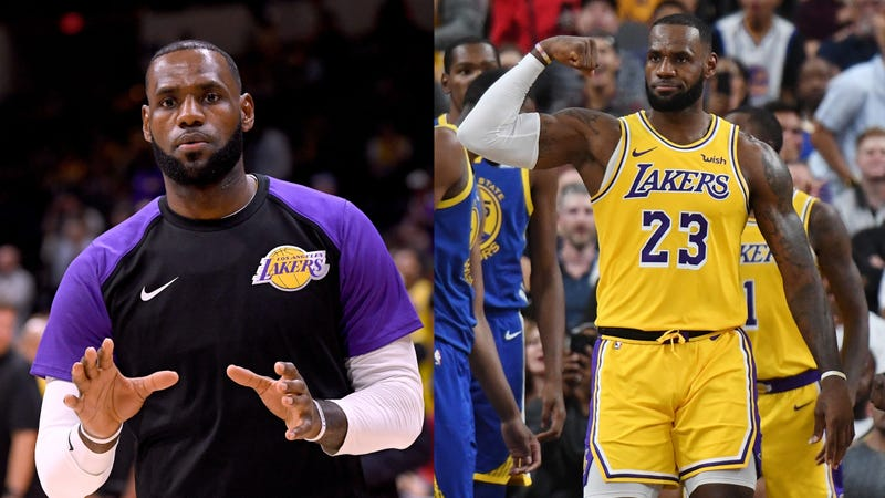 a8842b4a04a Left: LeBron James of the Los Angeles Lakers. Right: Los Angeles Lakers  player