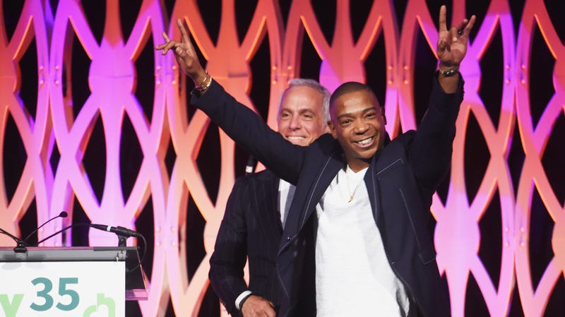 Geoffrey Zakarian (L) and Ja Rule speak onstage during City Harvest's 35th Anniversary Gala on April 24, 2018 in New York City.