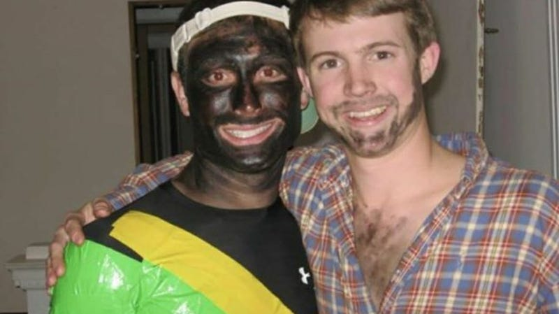 Candidate for the Kershaw County (S.C.) Council Brant Tomlinson (left) displaying his lackadaisical blackface effort