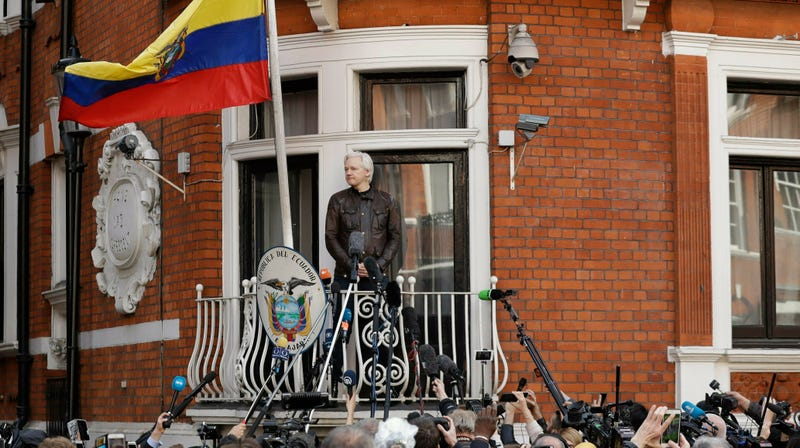 Assange at the Ecuadorian embassy in London, 2017.