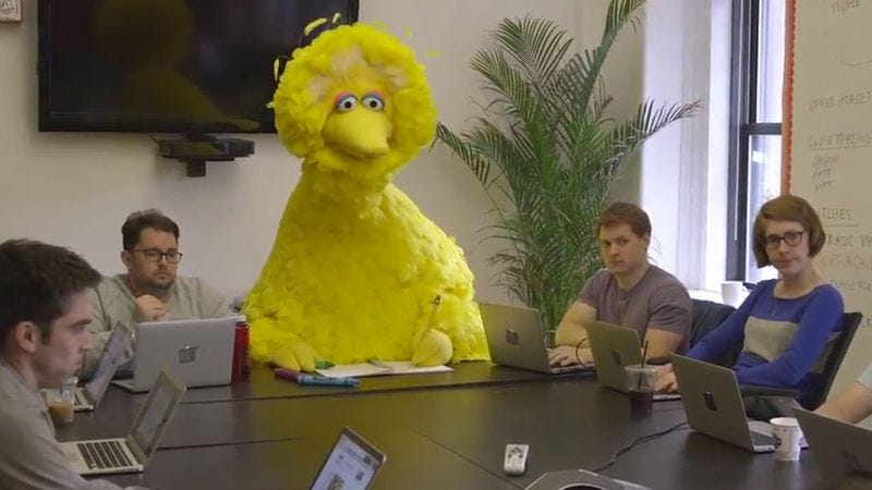 Illustration for article titled Big Bird takes a crack at comedy writing in a new sketch from Funny Or Die