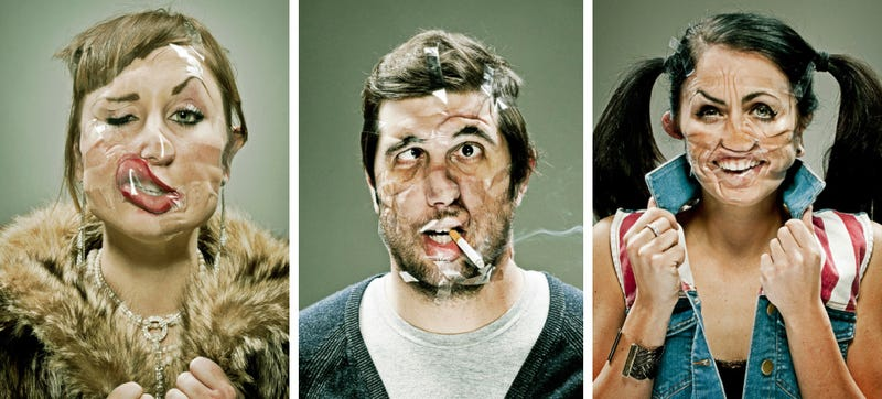 Illustration for article titled Portraits of people deformed by Scotch tape are hilariously freaky