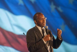 Dr. Ben Carson speaks as the keynote speaker at the Wake Up America gala event Sept. 5, 2014, at the Westin Kierland Resort in Scottsdale, Ariz.Laura Segall/Getty Images