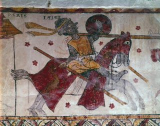 Combat between William of Orange and the Giant Ysore. Fresco, late 13th century.Tour Ferrande, Pernes-les-Fontaines