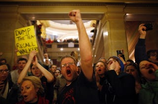 Wisconsin protesters are still protesting in the Capitol.