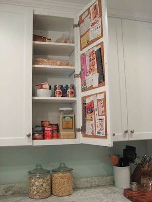 Inside Kitchen Cupboards Create A Hidden Cork Board Message Center On The Inside Of A
