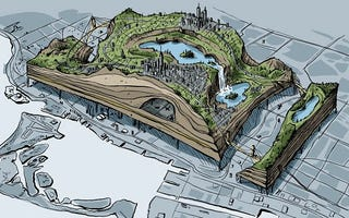 Illustration for article titled Designers unveil plans to build a second city on top of Toronto