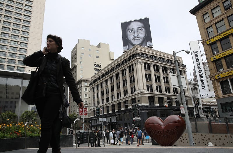 A billboard featuring former San Francisco 49ers quarterback Colin Kaepernick is displayed on the roof of the Nike Store on September 5, 2018, in San Francisco.