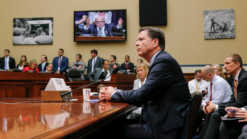 FBI Director James Comey testifies on Capitol Hill in Washington, D.C. in July to explain the FBI's decision not to prosecute Hillary Clinton.