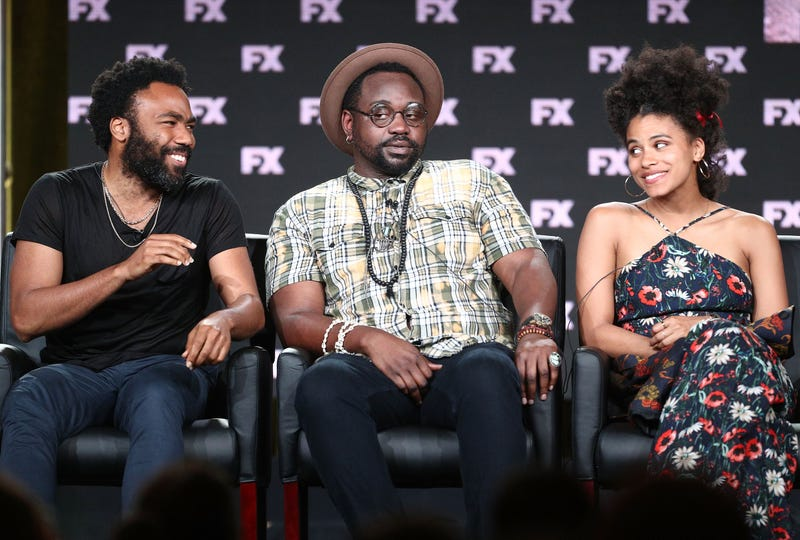 Creator-executive producer-director-writer-executive music producer Donald Glover and actors Brian Tyree Henry and Zazie Beetz of the television show Atlanta  onstage during the Fox/FX Networks portion of the 2018 Winter Television Critics Association Press Tour at the Langham Huntington, Pasadena, in California, on Jan. 5, 2018 (Frederick M. Brown/Getty Images)