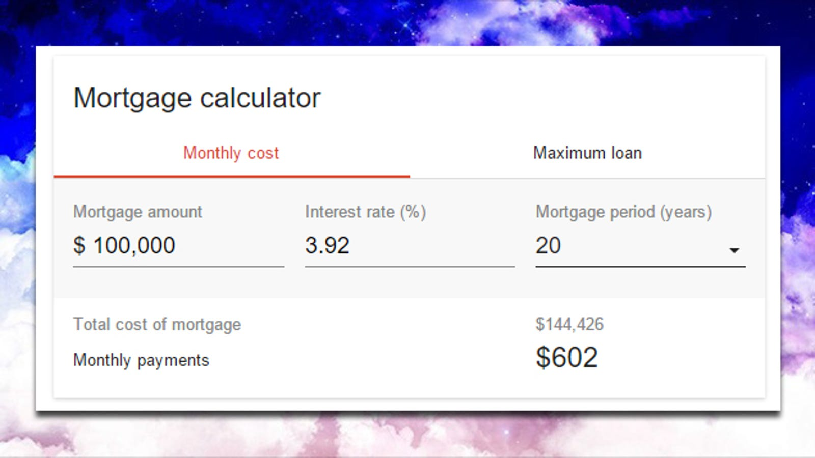 Google Adds a Mortgage Interest Calculator to Search
