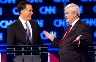 Romney and Gingrich (Emmanuel Dunand/AFP/Getty Images)