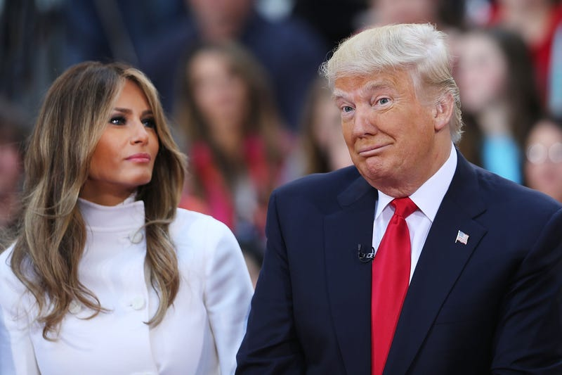 Then-Republican presidential candidate Donald Trump sits with his wife, Melania Trump, while appearing at an NBC Town Hall at the Today show on April 21, 2016, in New York City.