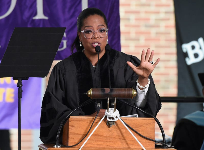 Oprah Winfrey gives the commencement address at Agnes Scott College on May 13, 2017, in Decatur, Ga. (Rick Diamond/Getty Images)