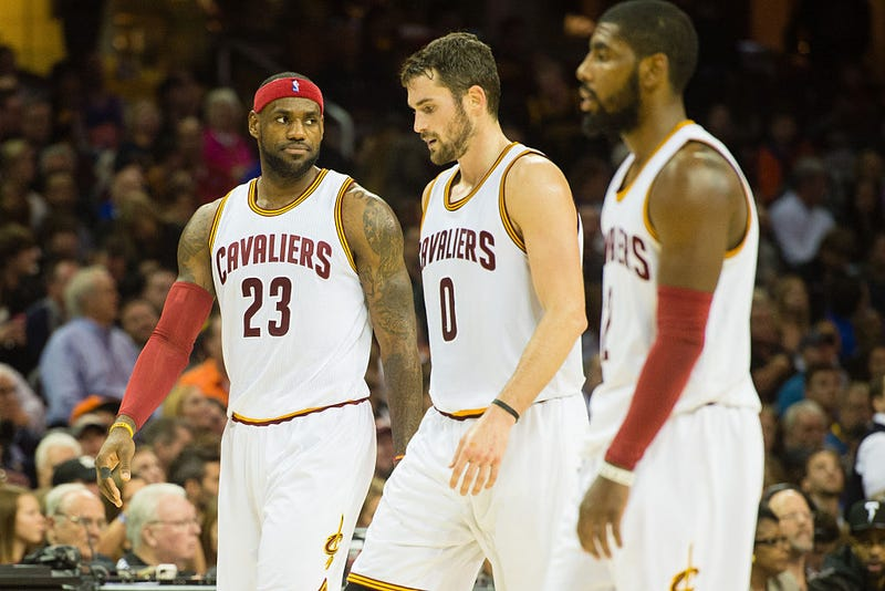 LeBron James, Kevin Love and Kyrie Irving of the Cleveland Cavaliers during a game in Cleveland Nov. 22, 2014  (Jason Miller/Getty Images)