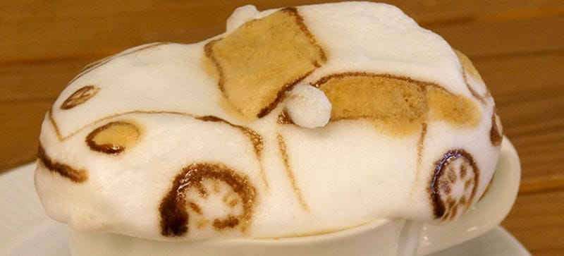 Illustration for article titled This Is The Best Coffee-Foam VW Beetle I've Ever Seen