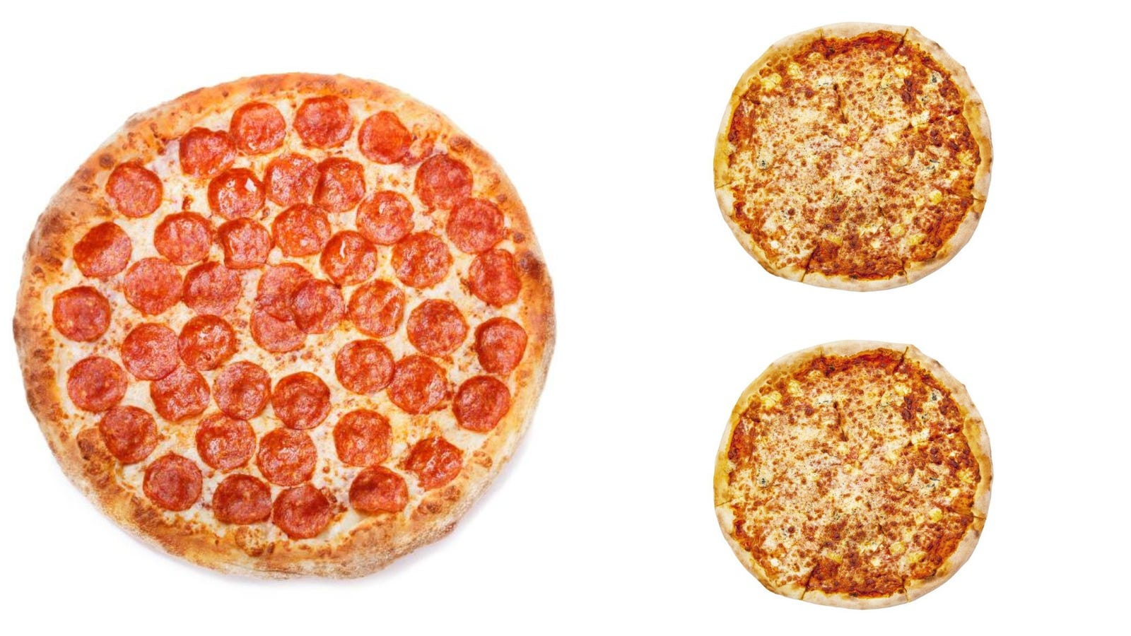 A large pizza contains more total pizza than 2 small ones, says math
