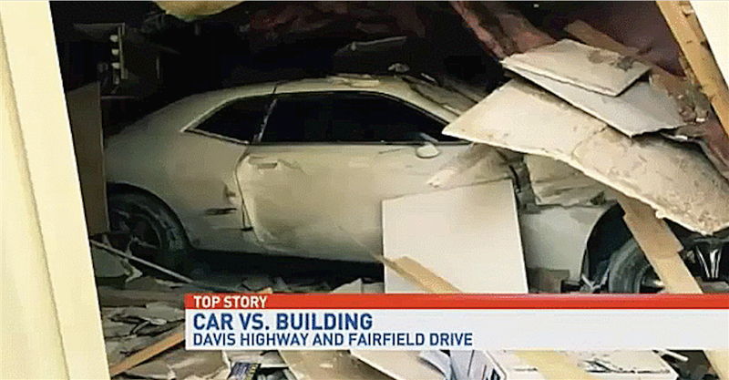 Illustration for article titled Guy Busts Through Florida Building Trying To 'Travel Through Time'WithDodge Challenger
