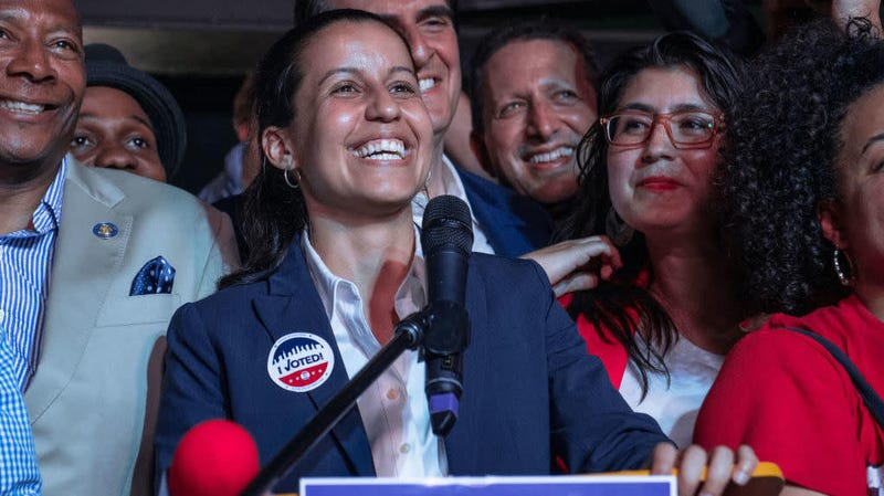 Public defender Tiffany Cabán declares victory in the Queens district attorney Democratic primary race, June 25, 2019, in the Queens borough of New York City.