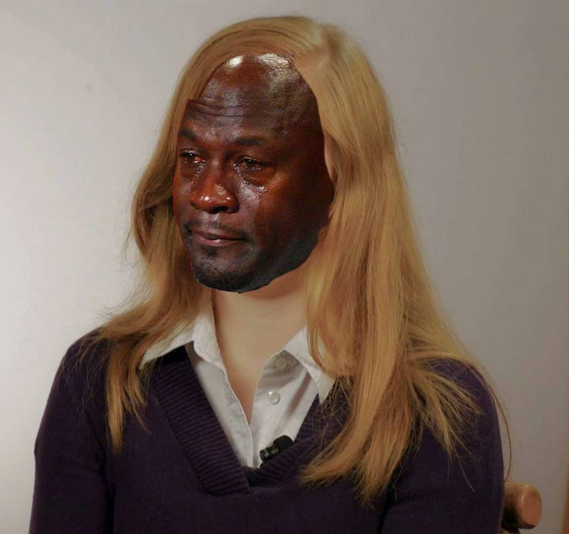 Abigail Fisher with the Michael Jordan crying memeTwitter