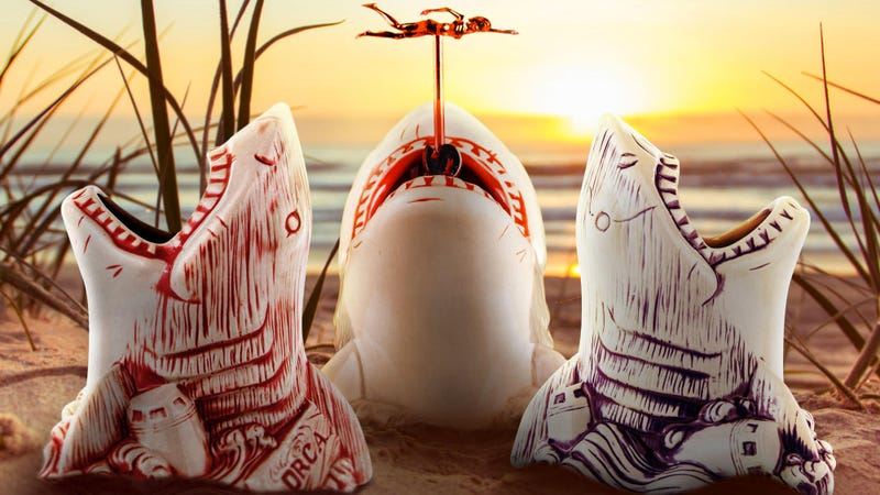 These toothy Jaws tiki mugs are part of a whole Jaws-themed week from Mondo.