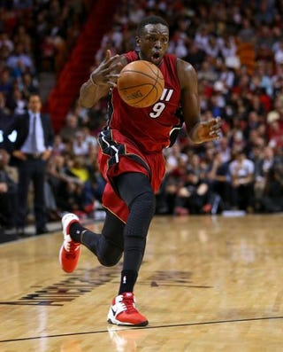 Luol Deng of the Miami Heat during a game against the Chicago Bulls at American Airlines Arena Dec. 14, 2014, in MiamiMike Ehrmann/Getty Images
